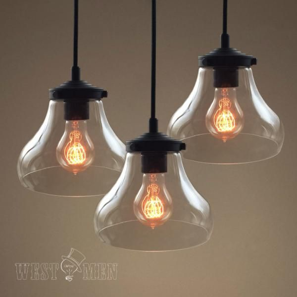 Clear Hand Blown Seeded Glass Pendant Light Fixtures