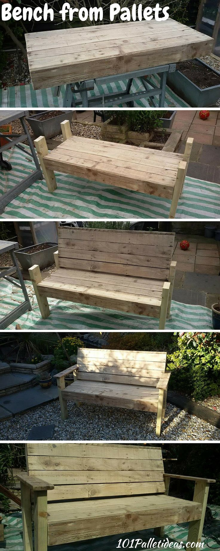 Diy pallet wood bench tutorial reclaimed pallets projects