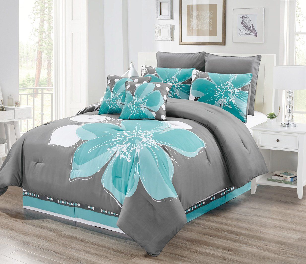 8 Piece Aqua Blue Grey White Floral Comforter Set Queen Size Bedding Accent Pillows Be Sure To Blue And Grey Bedding Blue Comforter Sets Comforter Sets