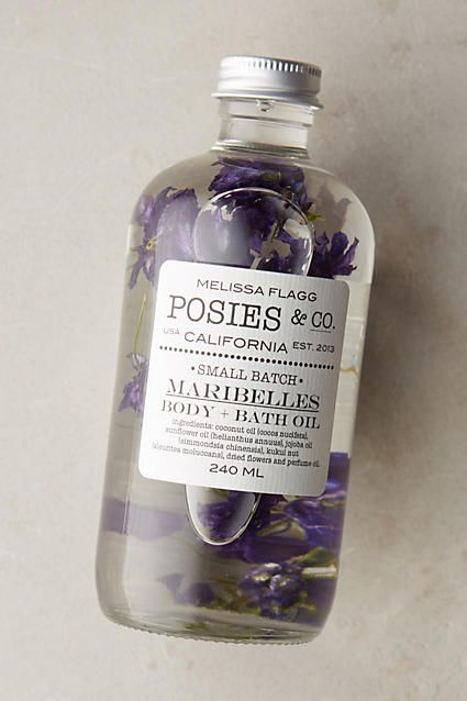 Posies & Co. Body & Bath Oil The scent is kind of strong, but it's highly moisturizing and absorbs well.