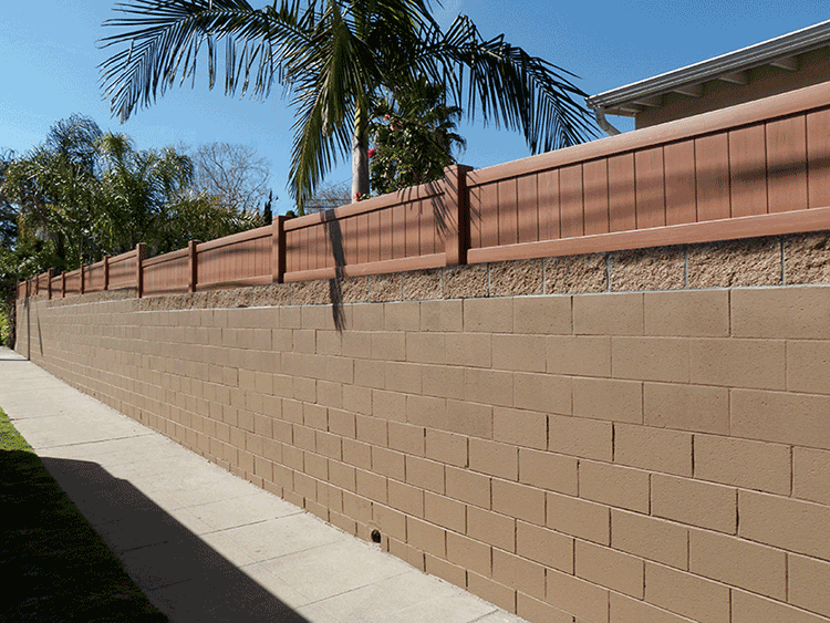Mocho Walnut Block Wall Extension Privacy fence