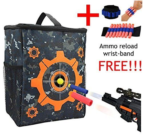 Target Pouch Bag Storage Nerf Gun Carry Equipment Bag includes AMMO RELOAD  WRIST BAND FREE.