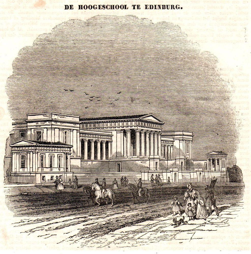 Antique print University of Edinburgh Edin 1840 Scotland