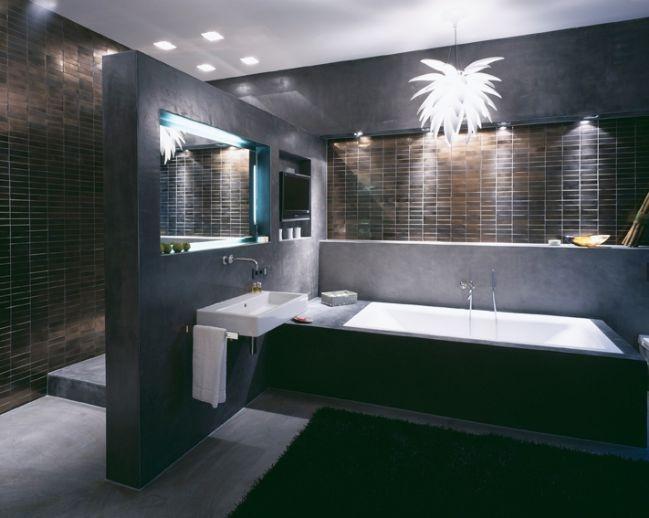 Badezimmer Luxus ~ Luxus bad design beige braun mosaik fliesen spiegel effekte