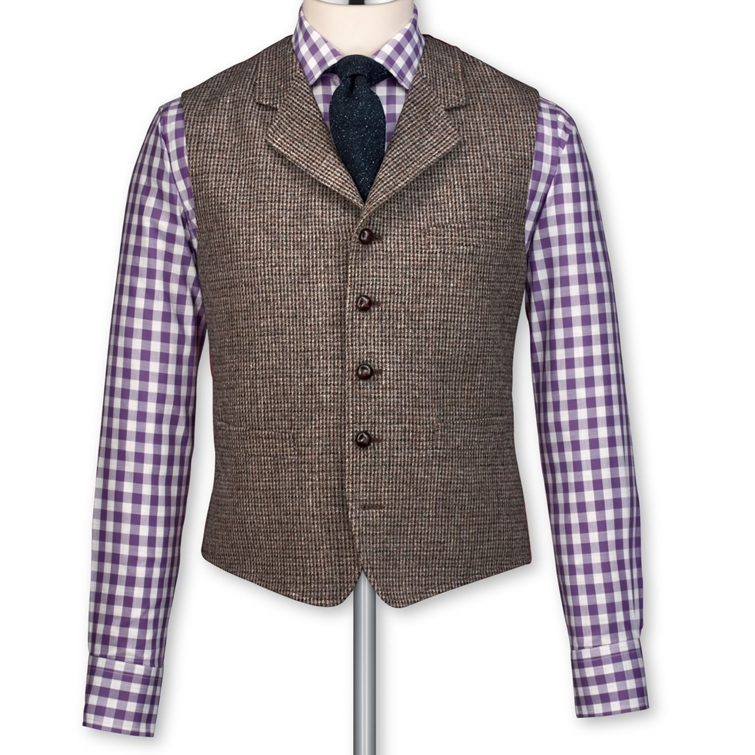 Taupe tweed tailored fit vest | Suit vests from Charles ...