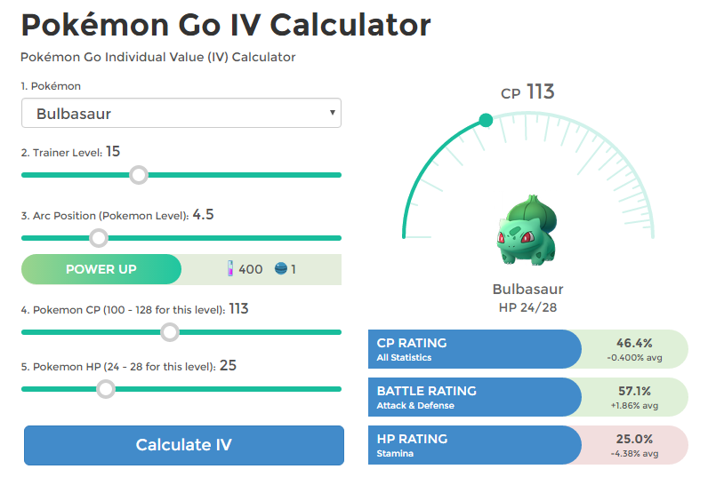 Pokémon Go IV Calculator (also known as Pokemon IV
