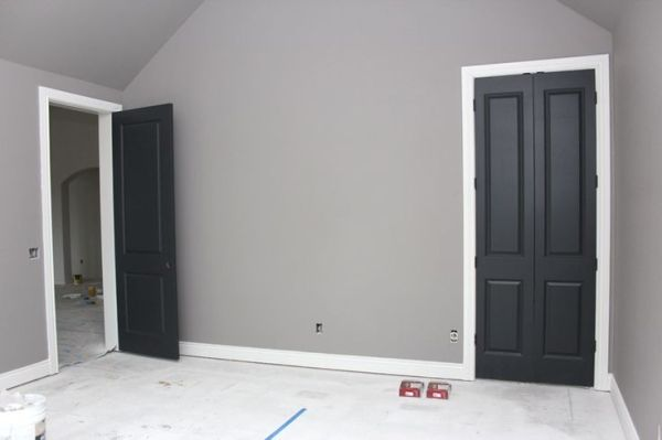 Gray Walls White Trim Black Doors By Queen Grey Walls White Trim Black Interior Doors Home Renovation