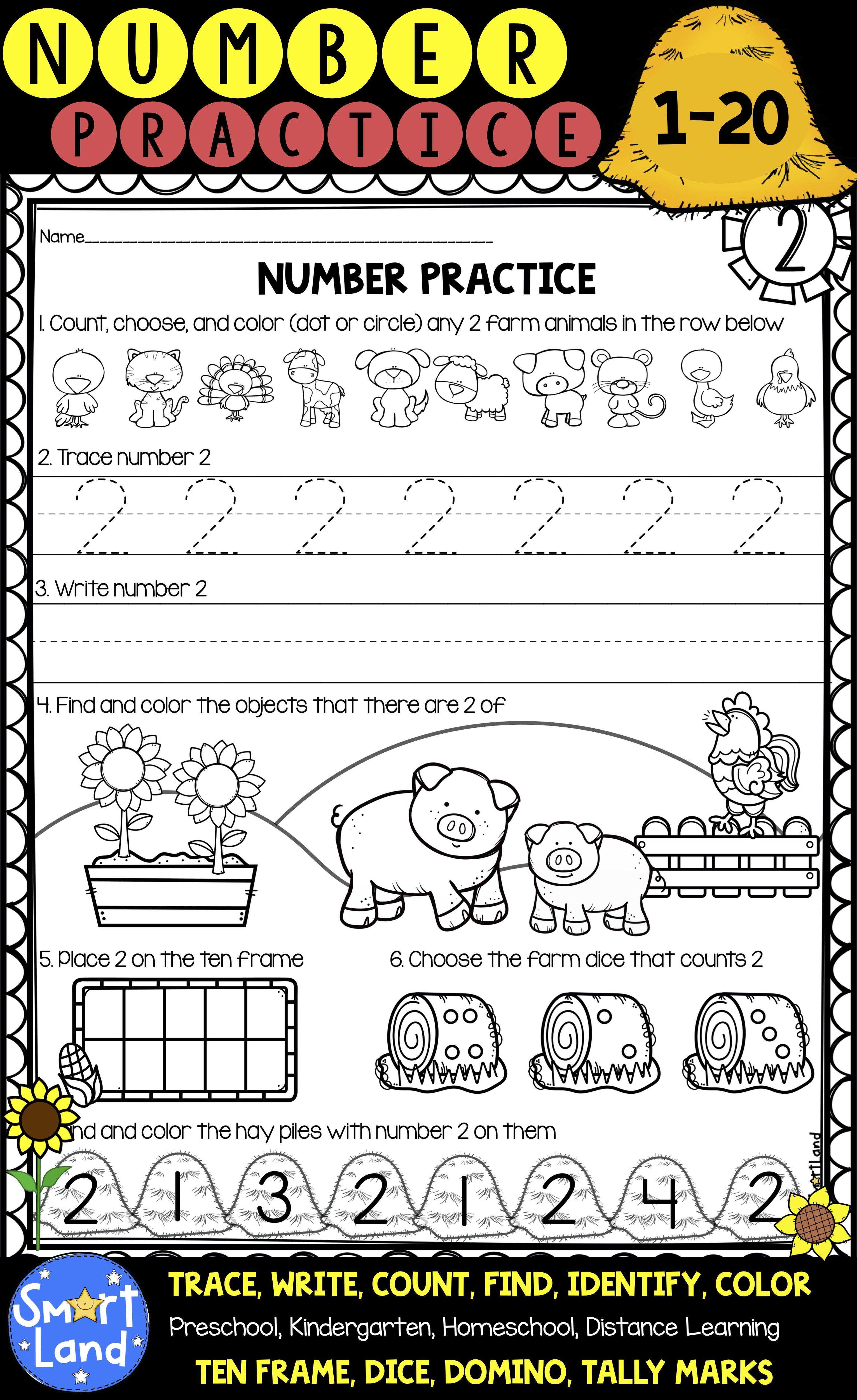 Number Practice 1 20 Handwriting And Counting In
