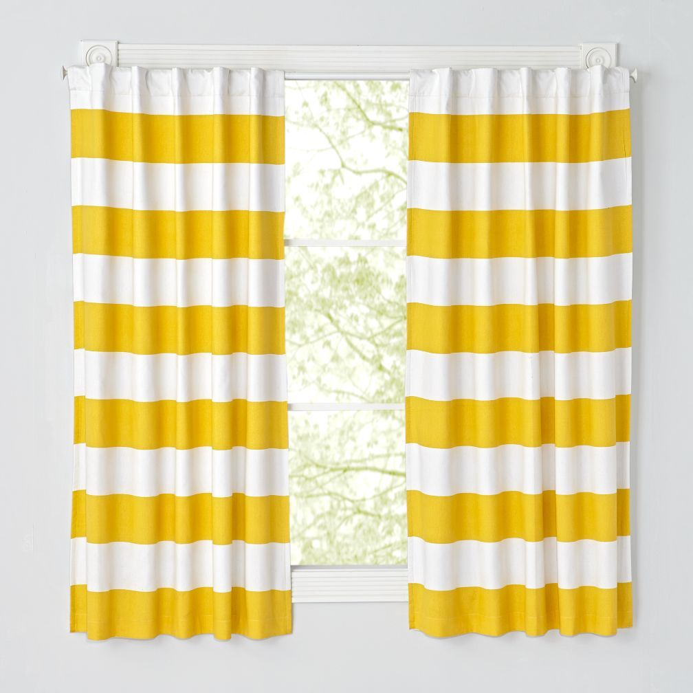 Shop Set Of 2 Cabana Stripe Yellow Blackout Curtains The Vibrant Hues On These Striped Will Instantly Brighten Up Any Room And Add A Playful Touch