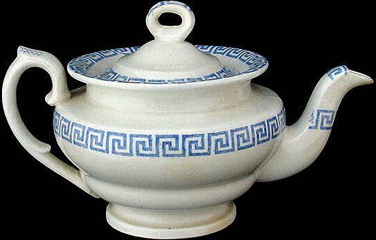 Childs Staffordshire Miniature Teapot ~ Greek Key c1850 from childhoodantiques on Ruby Lane