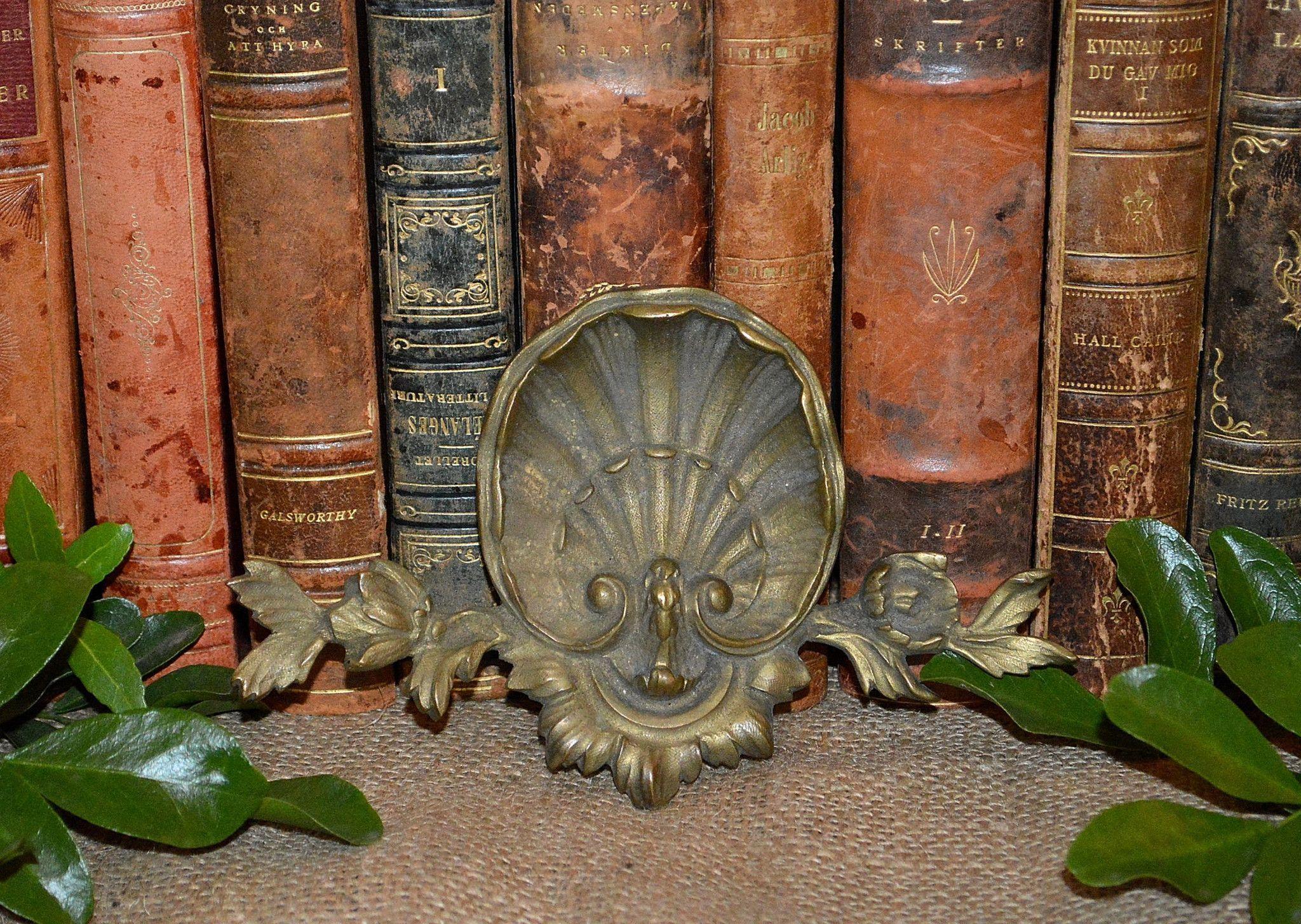 Antique French Floral Shell Pediment Trim Mount Bronze Hardware