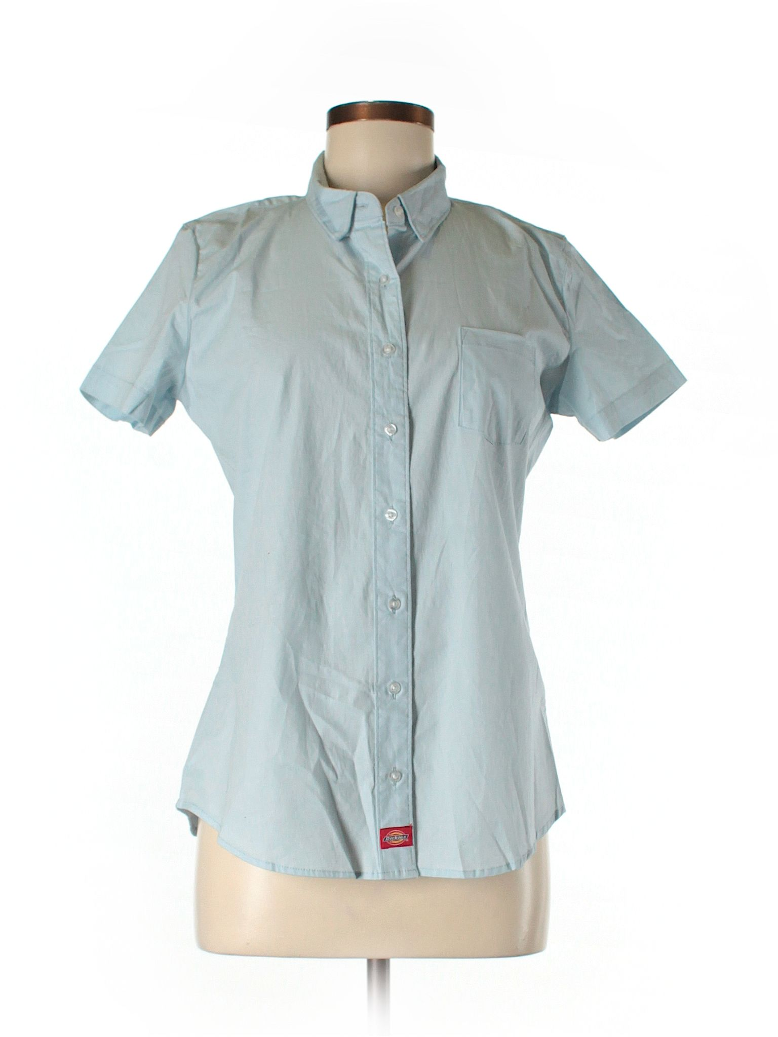 ed4cacd2 Dickies Short Sleeve Button Down Shirt: Size 12.00 Light Blue Women's Tops  - New With Tags - $11.99