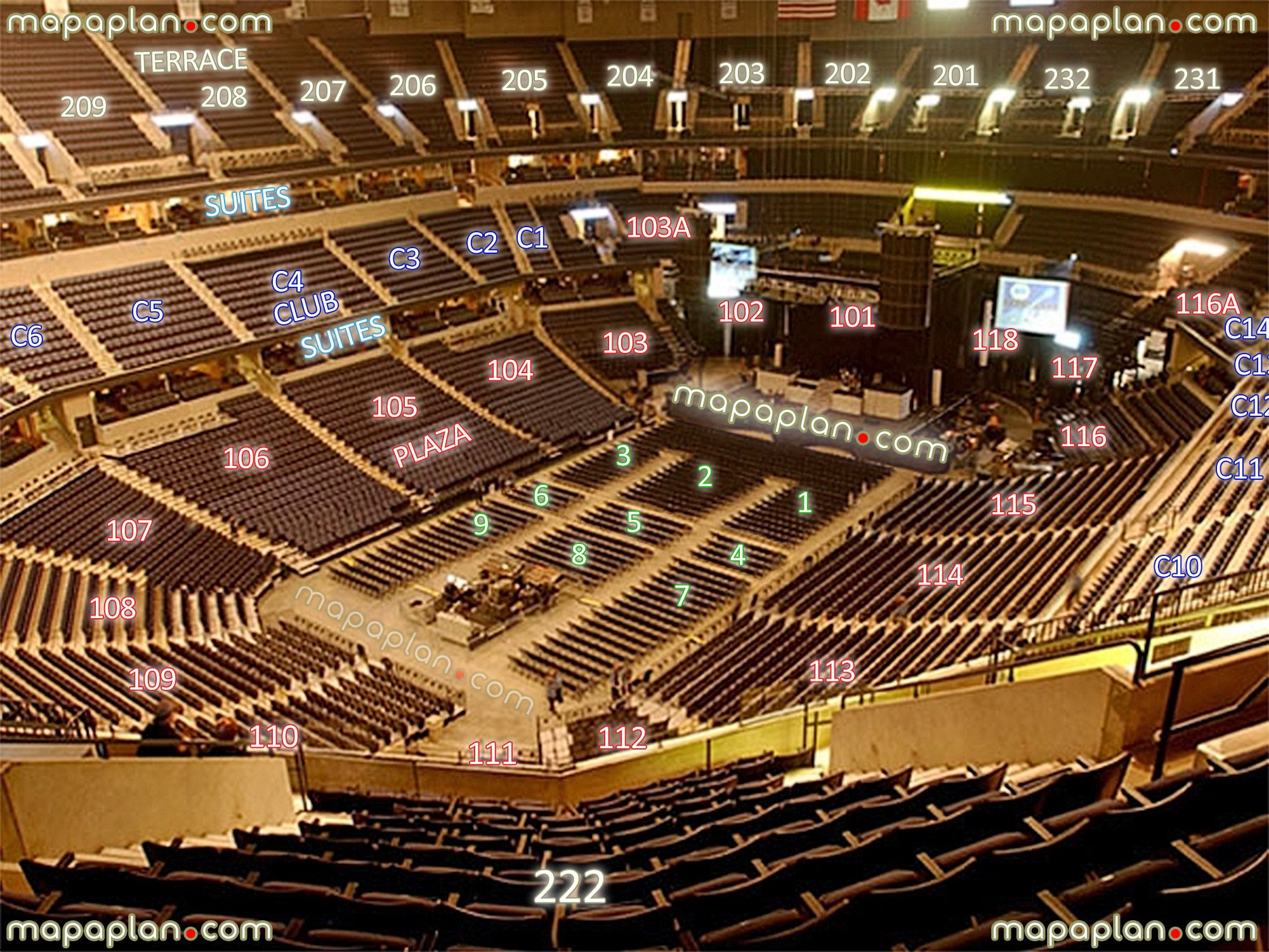View section 222 row 13 seat 8 virtual venue 3d interactive inside stage review tour concert number chartseating