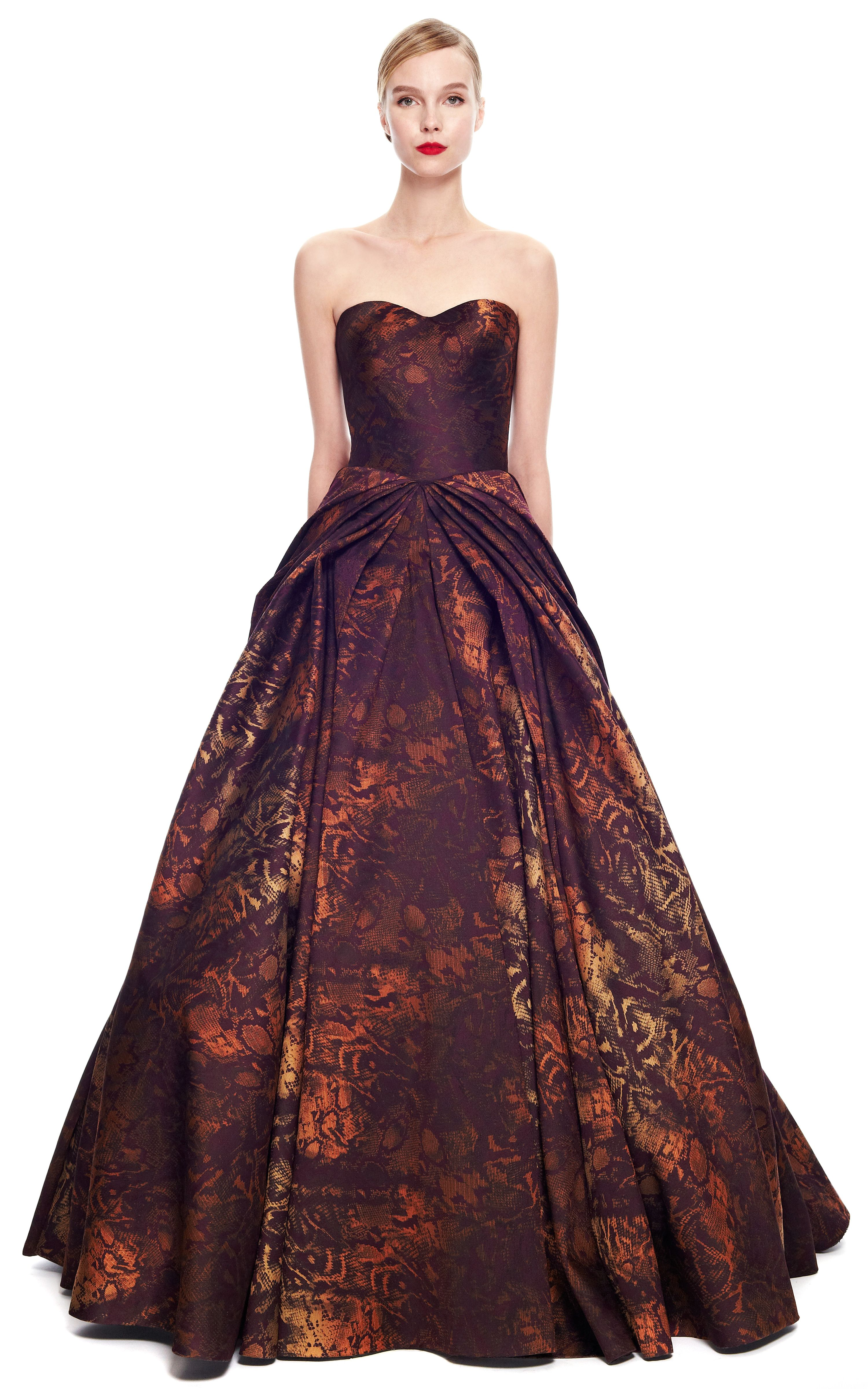 d6bf24d9f42 Python Floral Jacquard Strapless Gown by Zac Posen for Preorder on Moda  Operandi