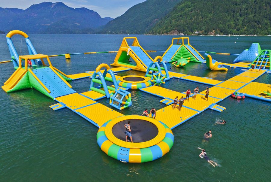 Harrison Giant Inflatable Water Park Manufacturer Bouncia If You Want To Learn More Aqua Park G Floating In Water Inflatable Water Park Water Parks Near Me