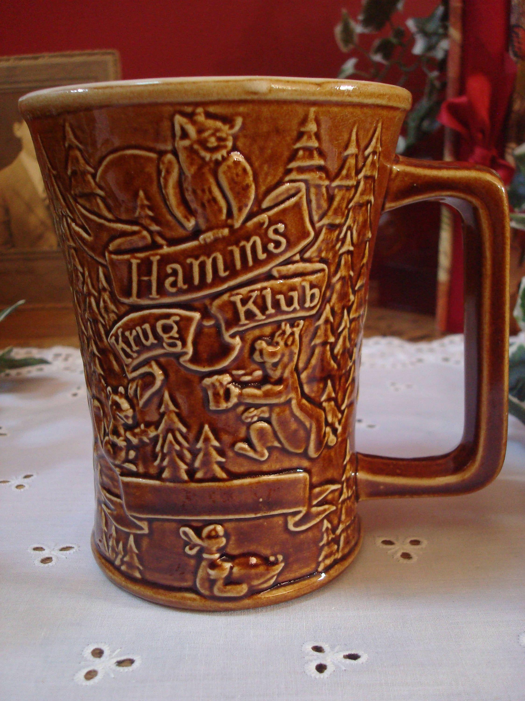 Vintage Hard To Find Brown Hamms Beer Krug Klub Mug