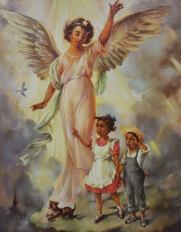 African American Black Girl Angel/'s Prayer Wall Picture 8x10 Art Print