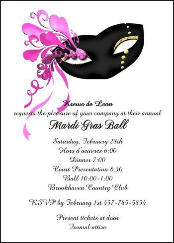 Mardi Gras Krewe Ball Invitations Card No 7451cs Mg Regular
