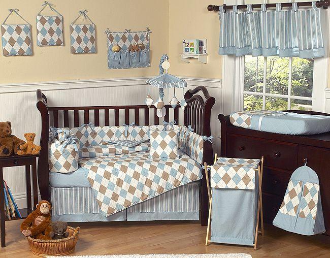 Blue And Brown Argyle Crib Bedding Set By Jojo Designs Baby Crib Bedding Sets Baby Bed Crib Sets