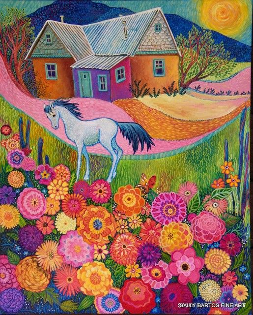 House with White Colt and Zinnias by Sally Bartos, New Mexico artist. Her work is available from bartos on Etsy.