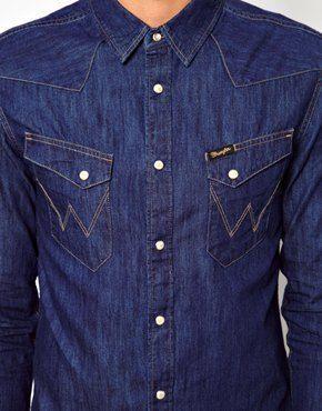 Wrangler Western Shirt Button Up  Vintage cotton shirt  denim style  street style