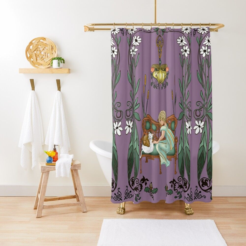 Lady Mary Art Nouveau Shower Curtain By Salzanos In 2020 Art