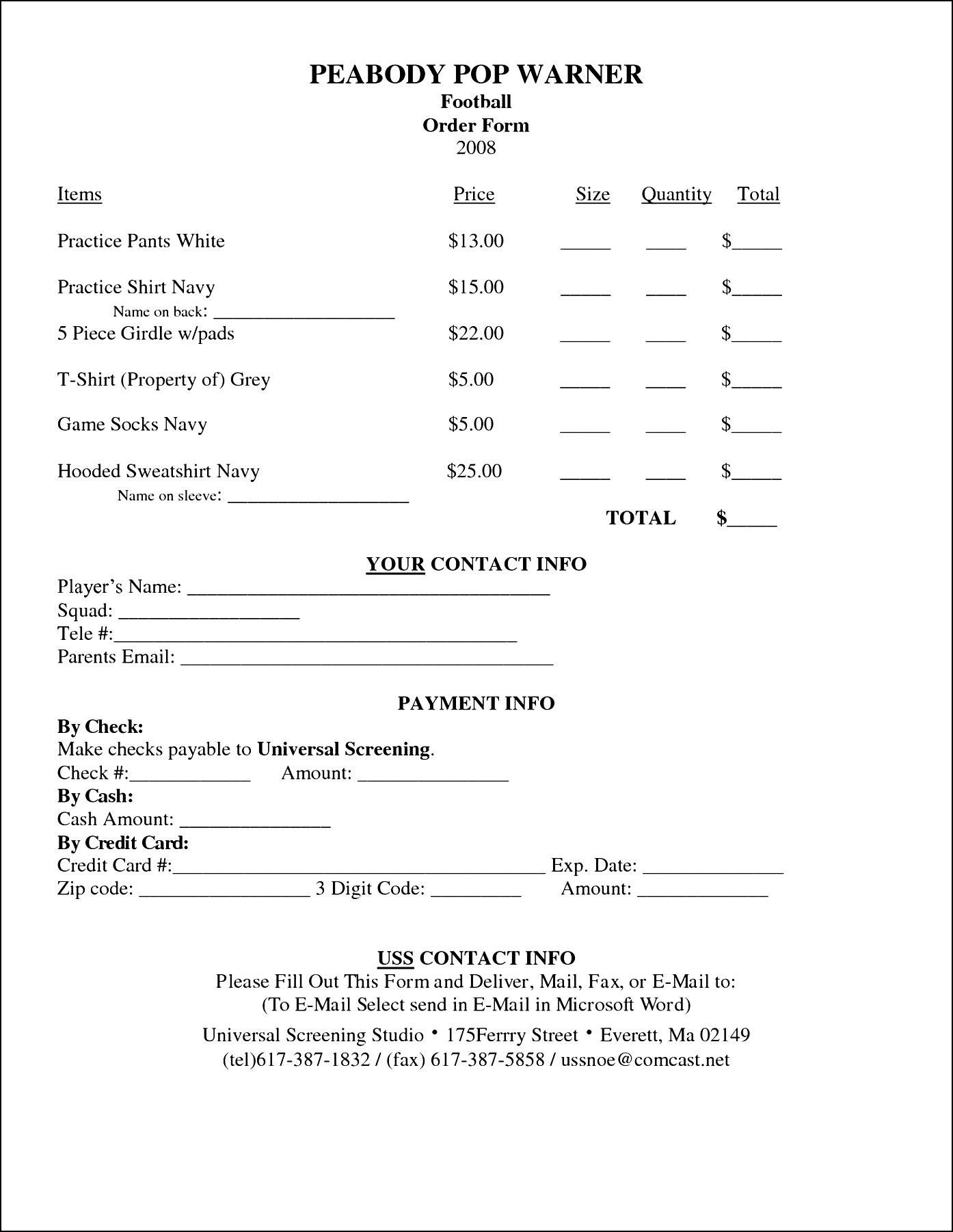 TShirt Order Form Template Microsoft Word Sample