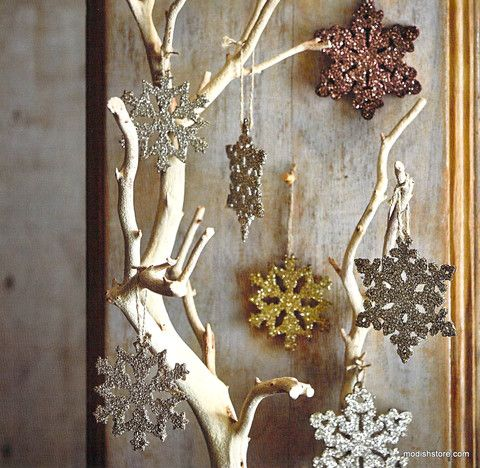 Roost Glitter Snowflake Ornaments