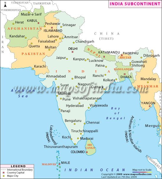 Indian Subcontinent Map | Maps-I | India map, Map, Afghanistan on