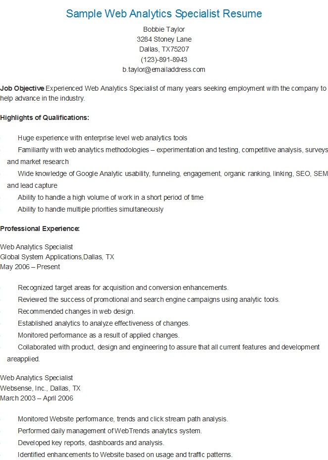 Sample Web Analytics Specialist Resume  Resame    Web