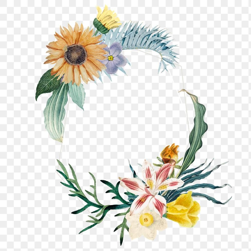 Badge With Flowers Png Summer Frame Free Image By Rawpixel Com Sasi Flower Illustration Badge Flowers