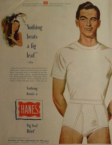 9d2a88ea135 1950s HANES Fig Leaf Briefs Men s Underwear Men Vintage Illustration ...