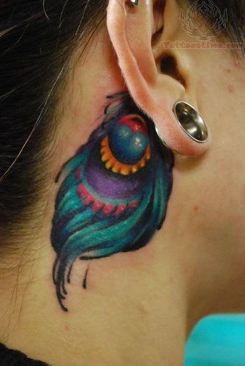 Feminine Color Peacock Feather Tattoo Behind The Ear With Images Feather Tattoo Behind Ear Peacock Feather Tattoo Neck Tattoo
