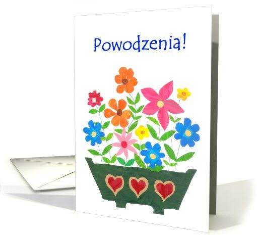 Good Luck Card Polish Greeting Flower Power Card Non English