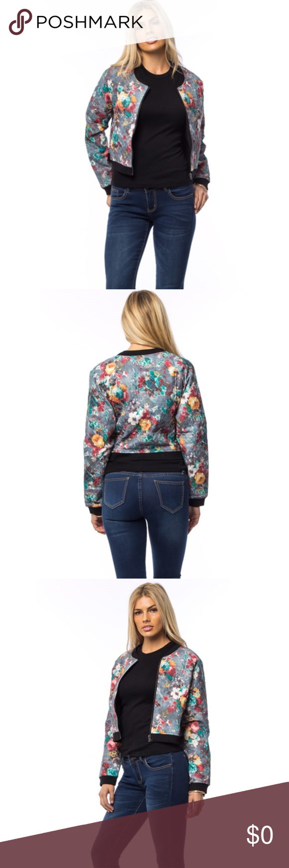 🍂Gray Floral Print Cropped Jacket Gray Floral Print Cropped Jacket. Quilted Jacket. Sizes S M L Available. Jackets & Coats