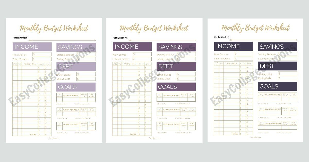 Free Printable Monthly Budget Worksheet Simple, Finance and
