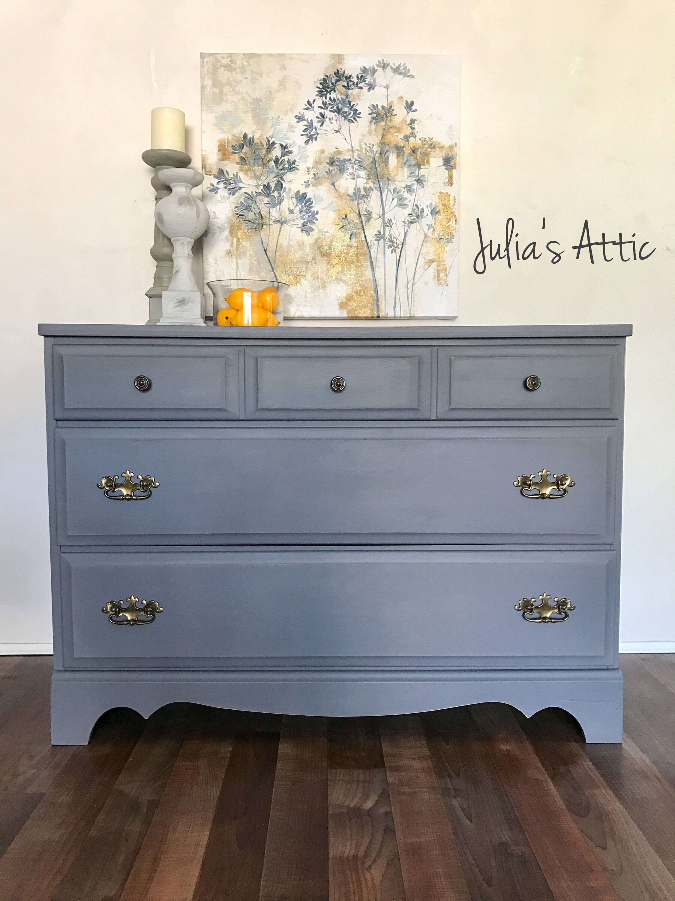 A personal favorite from my Etsy shop https://www.etsy.com/listing/521752406/vintage-gray-dresserentryway