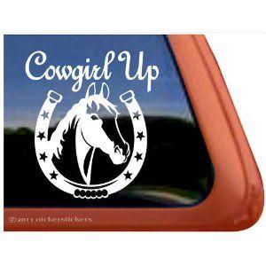 Cowgirl Up Horse Shoe Horse Trailer Vinyl Window Decal Sticker
