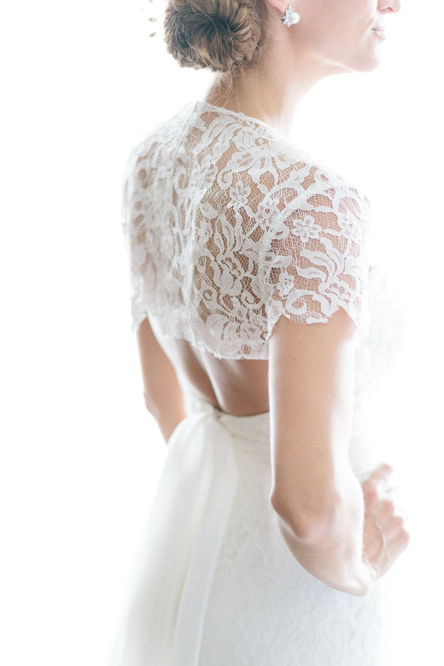 Wedding dress cardigan   Gorgeous Lace Back Wedding Dresses  Lace shrug Wedding and Weddings