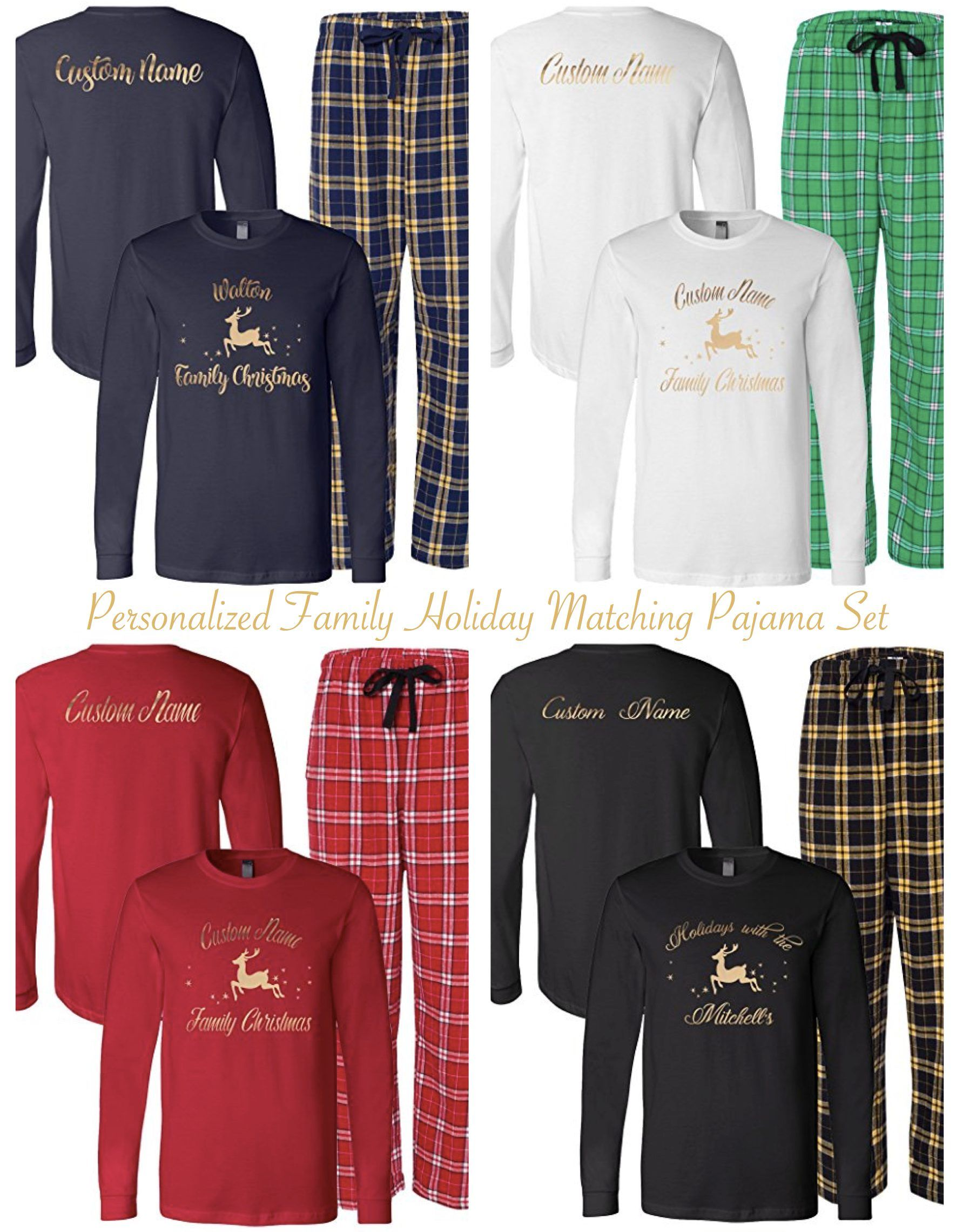 0c119c3c9a Personalized Family Matching Holiday Pajama Sets