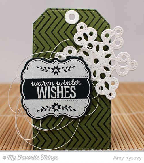 Christmas Labels and Tags stamp set and Die-namics, Snowfall Background, Pierced Snowflakes Die-namics, Stitched Traditional Tag STAX Die-namics - Amy Rysavy #mftstamps