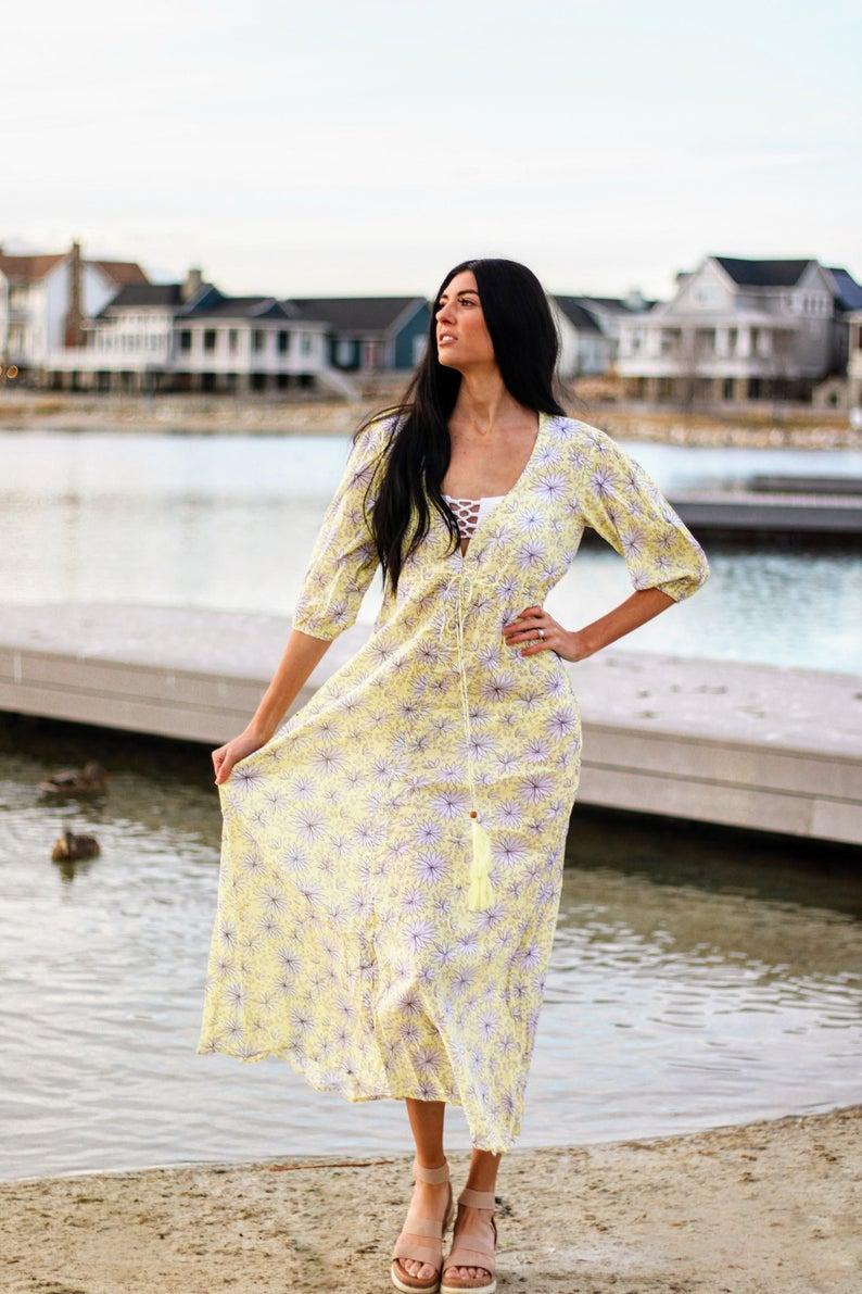Indian Kaftan Block Print Dress Cotton Dress Long Tunic Etsy Dresses Print Dress Summer Party Dress [ 1191 x 794 Pixel ]