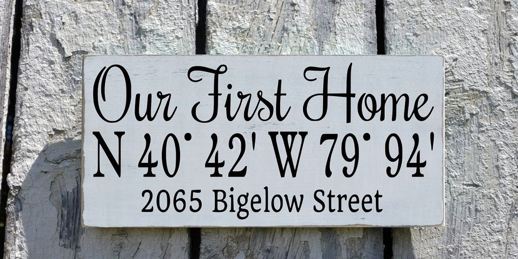 Personalized Our First Home Sign Latitude Longitude Custom Wood ...