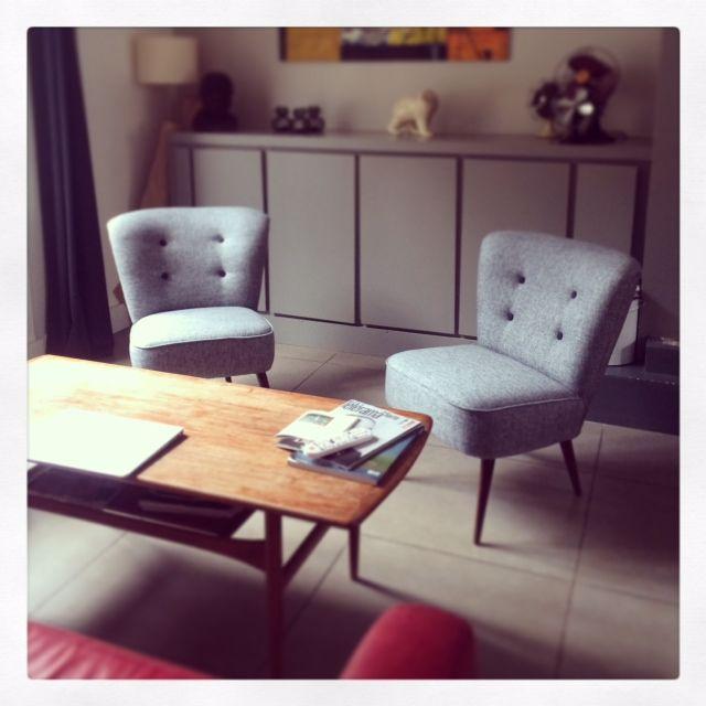 fauteuils cocktail gris chiné fauteuils vintage