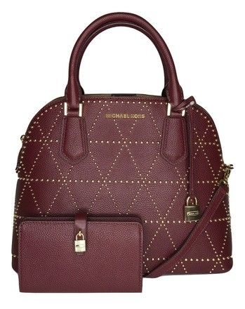 dbb3dee8d5d82 Michael Kors Adele Large Dome Satchel Bundled with Wallet Merlot Leather  Shoulder Bag. Get one of the hottest styles of the season!
