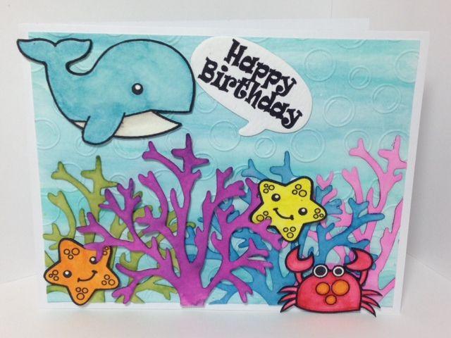 Birthday Card Created by Renee Myers using Diemond Dies Bare Tree Die as coral.
