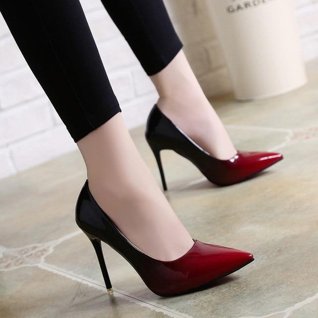 Shadow Women Shoes Pointed Toe Pumps Patent Leather Dress Red 10CM High Heels Boat Shoes Wedding Shoes – Dress