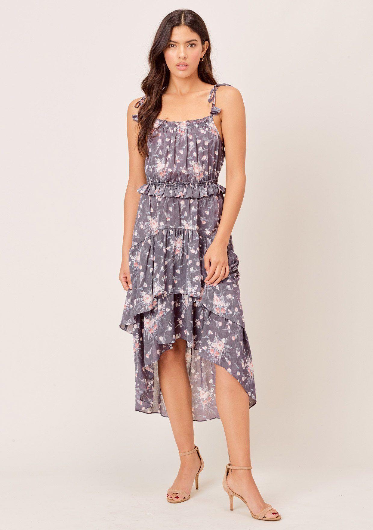 Nieva Floral Tie Strap Midi Dress Lovestitch Midi Dress Dresses Tank Top Midi Dress [ 1760 x 1240 Pixel ]