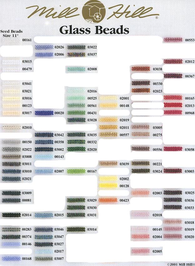 Mill Hill Beads Color Chart Mill Hill Beads Shade Chart Glass Seed