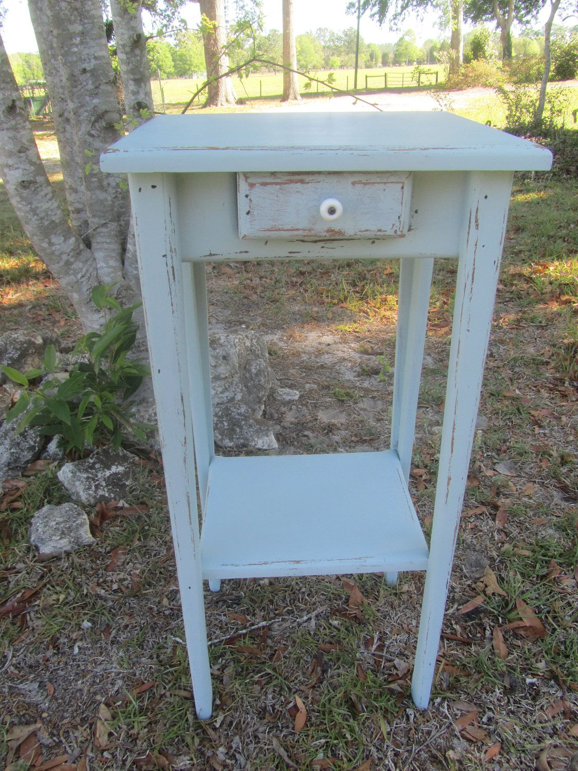 Shabby chic side table, nightstand, plant stand, end table, table, farmhouse decor, fixer upper, distressed aqua furniture, bedroom by KarensChicNShabby on Etsy